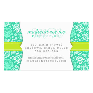 Modern Girly Floral Teal & Lime Green Personalized Business Card