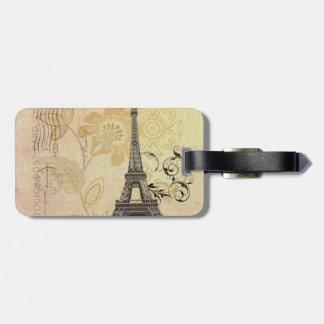 Modern Girly  floral Vintage Paris Eiffel Tower Luggage Tag