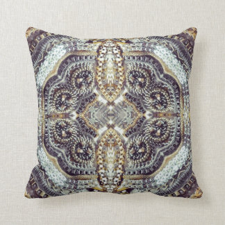 modern girly grey gold Exotic Medallion pattern Throw Pillows