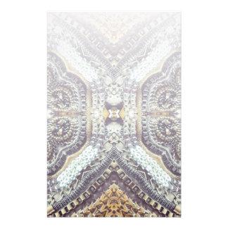modern girly grey gold Exotic Medallion pattern Custom Stationery
