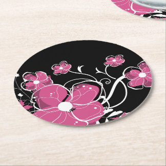 Modern Girly Pink and White Flowers Round Paper Coaster