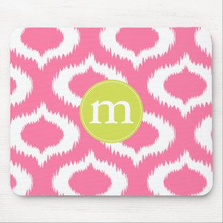 Modern Girly Pink Ikat Diamonds Personalized Mouse Pad