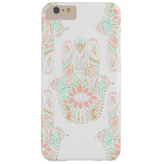 Modern girly pink mint gold Hamsa hand of fatima Barely There iPhone 6 Plus Case