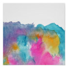 Modern girly pink teal watercolor patterns poster