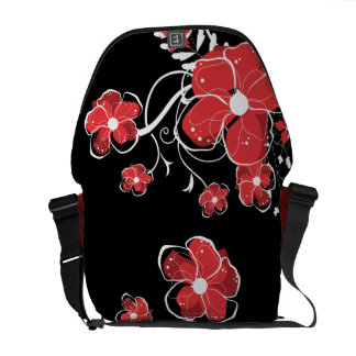 Modern Girly Red and White Flowers Courier Bags