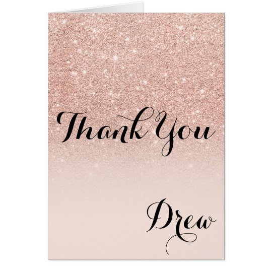 Modern girly rose gold glitter ombre thank you