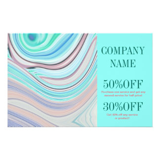 modern girly swirls fashion beauty coral turquoise full color flyer