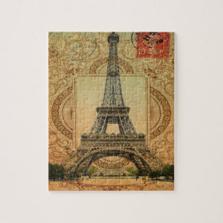 modern girly swirls pattern vintage eiffel tower jigsaw puzzle