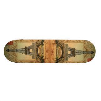 modern girly swirls vintage paris eiffel tower skate board