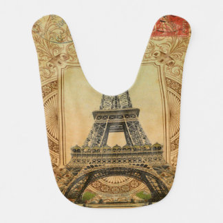 modern girly swirls vintage paris eiffel tower bibs