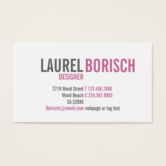 Modern Girly White Fuchsia Business Card