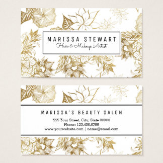 Modern Girly Yellow Gold Floral Illustrations Business Card