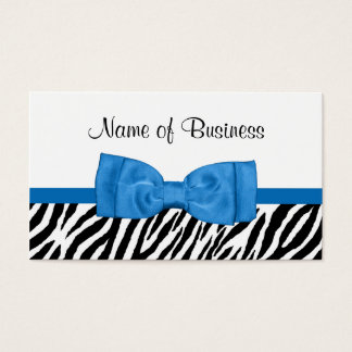 Modern Girly Zebra Print Pretty Bright Blue Bow Business Card