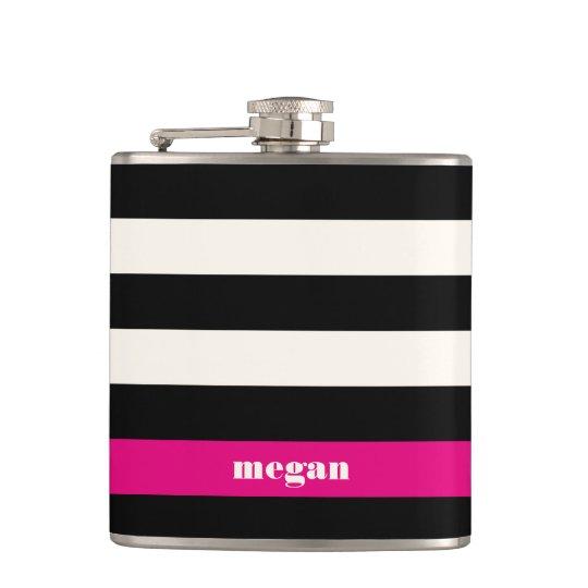 Modern Glam Black, Cream & Fuchsia Stripe Hip