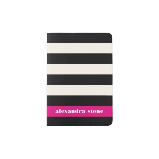 Modern Glam Black, Cream & Fuchsia Stripe Passport