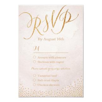 Modern glam blush rose gold calligraphy RSVP 9 Cm X 13 Cm Invitation Card