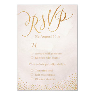 Modern glam blush rose gold calligraphy RSVP Card