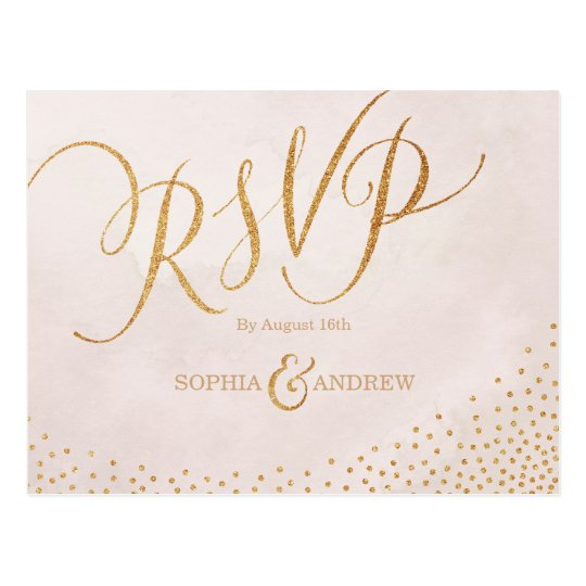 Modern glam blush rose gold calligraphy RSVP Postcard