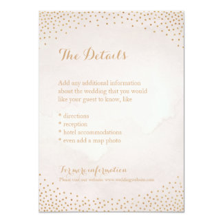 Modern glam blush rose gold confetti detail card