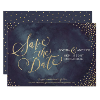 Modern glam gold glitter calligraphy save the date card