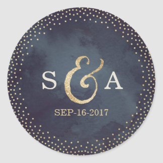 Modern glam night faux gold glitter monogram round sticker