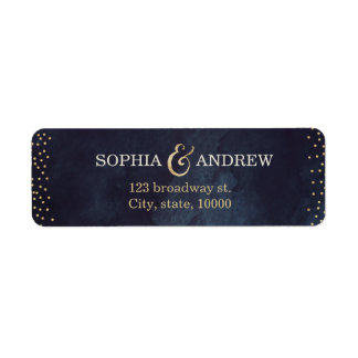 Modern glam night gold glitter return address