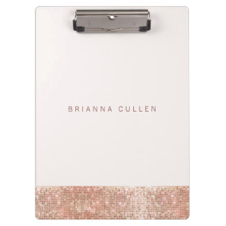 Modern Glam Rose Gold Sequin Black Clipboard