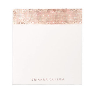 Modern Glam Trendy Rose Gold Sequin Notepad