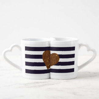 Modern Glamorous Gold Faux Glitter Heart Stripes Coffee Mug Set
