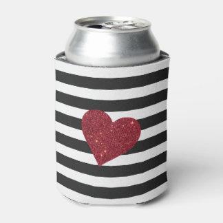 Modern Glamorous Red Faux Glitter Heart Stripes