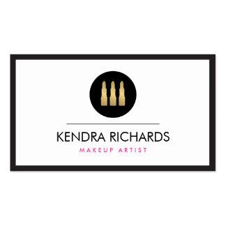 Modern Glamour Lipstick Trio Makeup Artist Business Card Templates