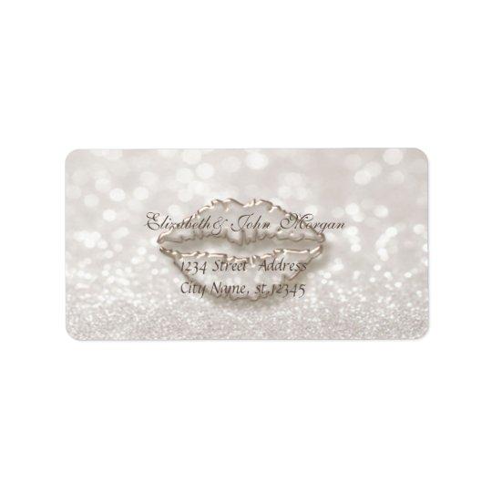 Modern Glamourous  Stylish Glittery Bokeh,Lips Address Label