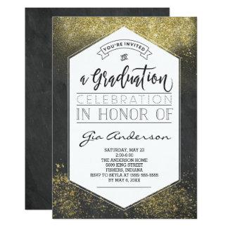 Modern Glitter Gold Grad Celebration Announcements