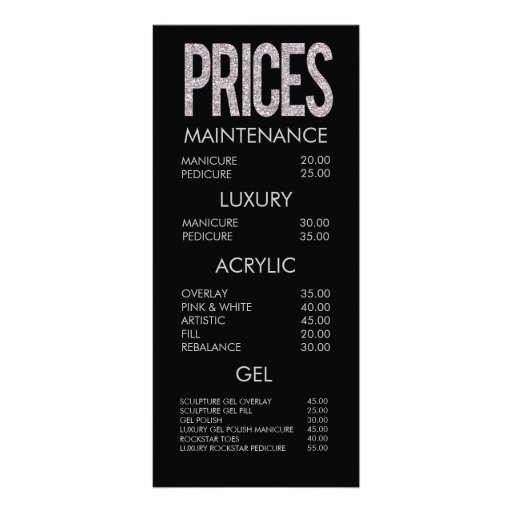Modern Glitter Typography Salon Menu Cards Full Color Rack Card