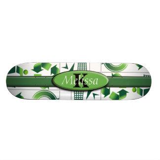 Modern Go Green & Recycle Collage Monogram 20.6 Cm Skateboard Deck