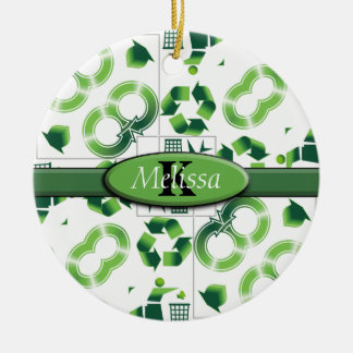Modern Go Green & Recycle Collage Monogram Christmas Ornament