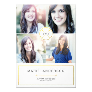 Modern Gold 4 Photo Graduation Invitation