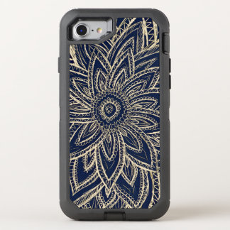 Modern gold abstract flower drawing on black OtterBox defender iPhone 8/7 case