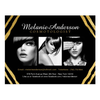 Modern Gold and Black Deco Makeup Artist Comp Card Postcard