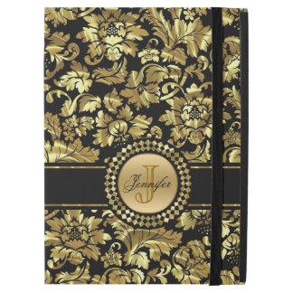Modern Gold And Black Floral Damask Pattern