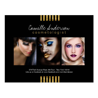 Modern Gold and Black Makeup Artistry Comp Card Postcard