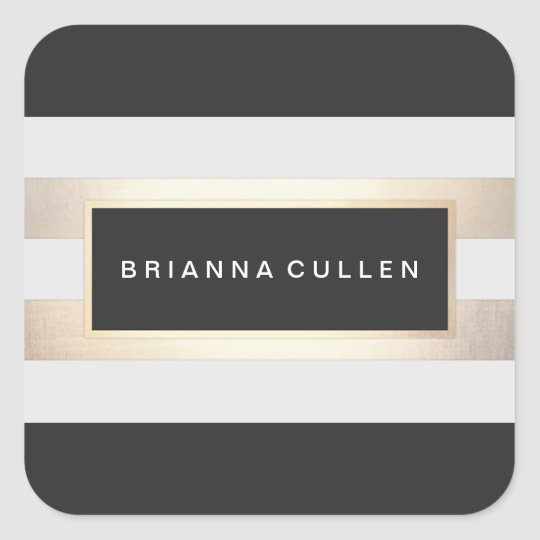 Modern Gold and Black Stripes Square Sticker