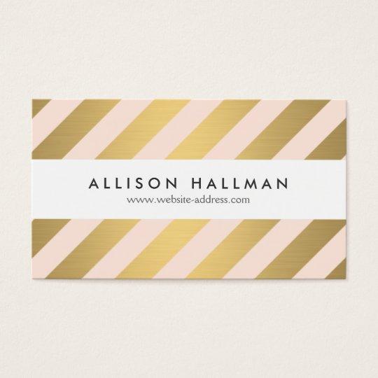 Modern Gold and Peach Diagonal Stripes Business Card