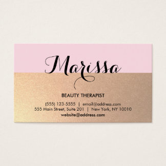 Modern Gold and Pink Beauty Consultant Business Card