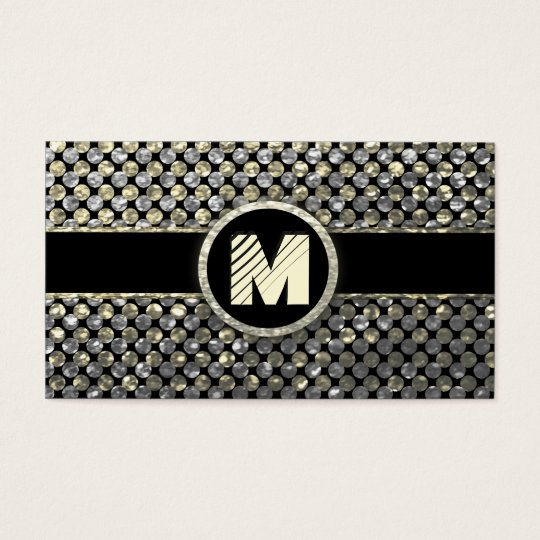 Modern Gold and Silver Monogram Business Card