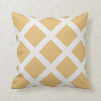 Modern Gold and White Criss Cross Stripes Throw Pillow