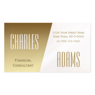 Modern Gold and White Divided Design Pack Of Standard Business Cards