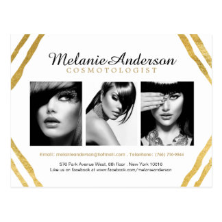 Modern Gold and White Makeup Artistry Comp Card Postcard