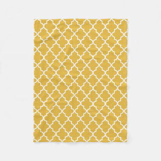 Modern Gold and White Moroccan Quatrefoil Fleece Blanket