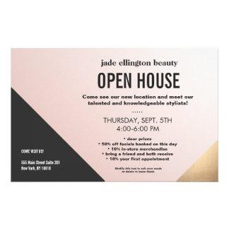 Modern Gold, Black and Pink Geometric Salon Flyer